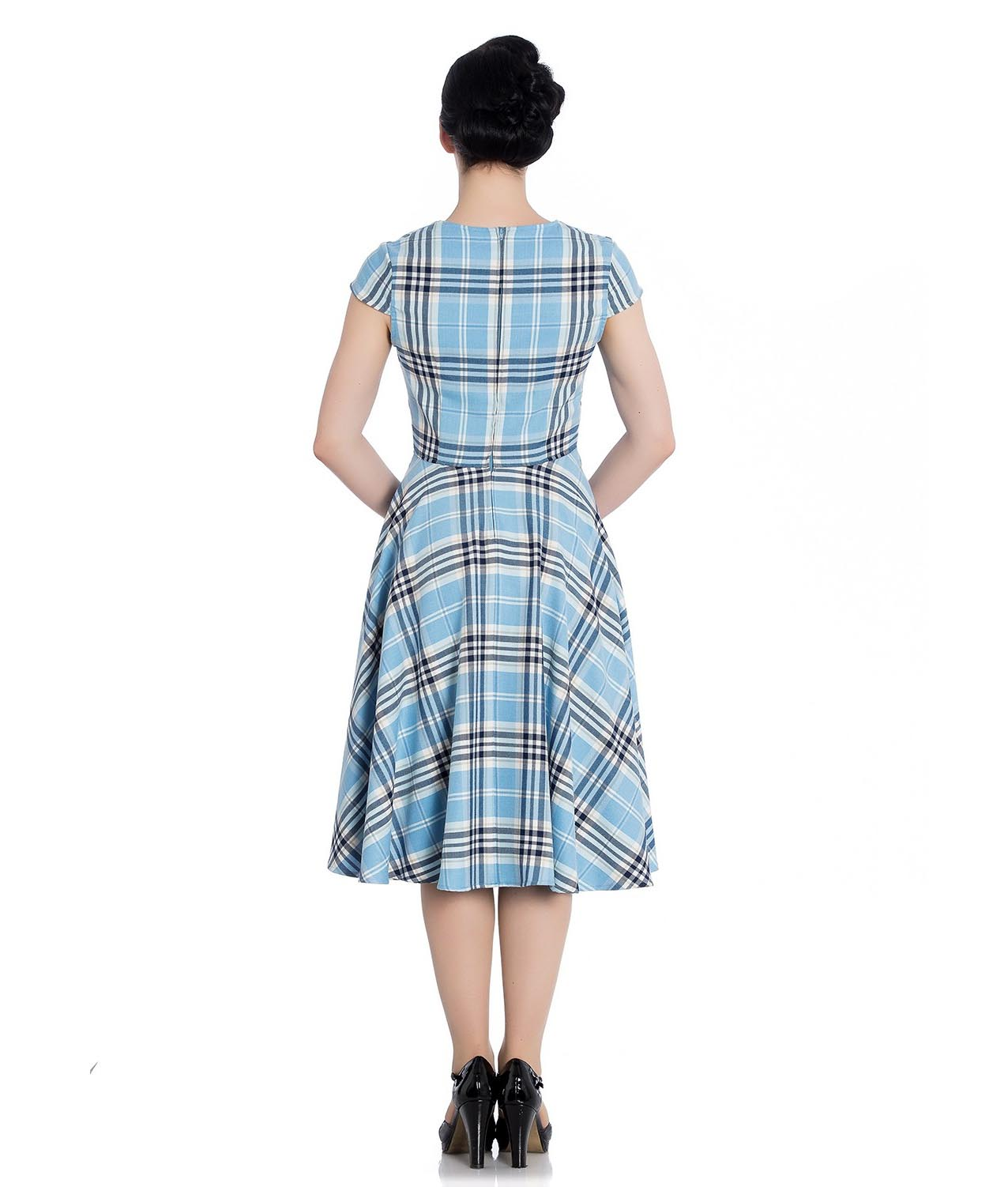 Hell-Bunny-Pinup-50s-Dress-ABERDEEN-Hogmony-Sky-Blue-amp-White-Tartan-All-Sizes thumbnail 9