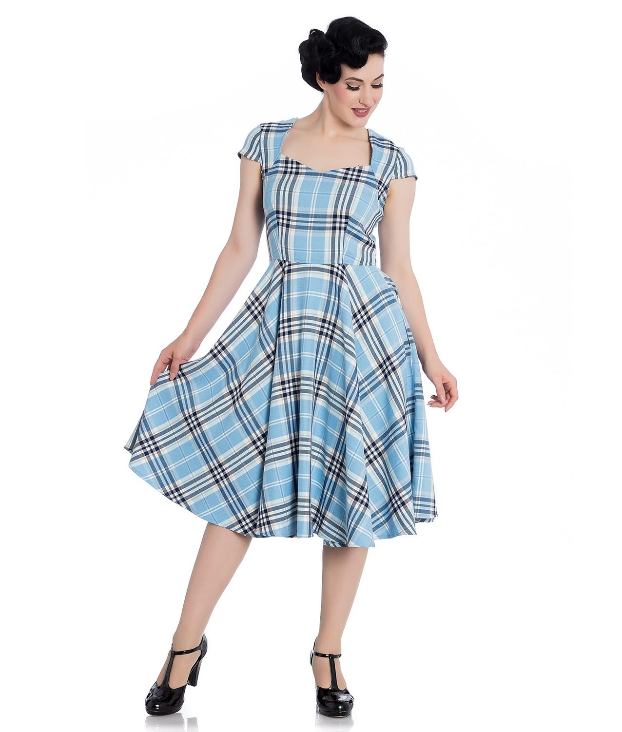 Hell-Bunny-Pinup-50s-Dress-ABERDEEN-Hogmony-Sky-Blue-amp-White-Tartan-All-Sizes thumbnail 3