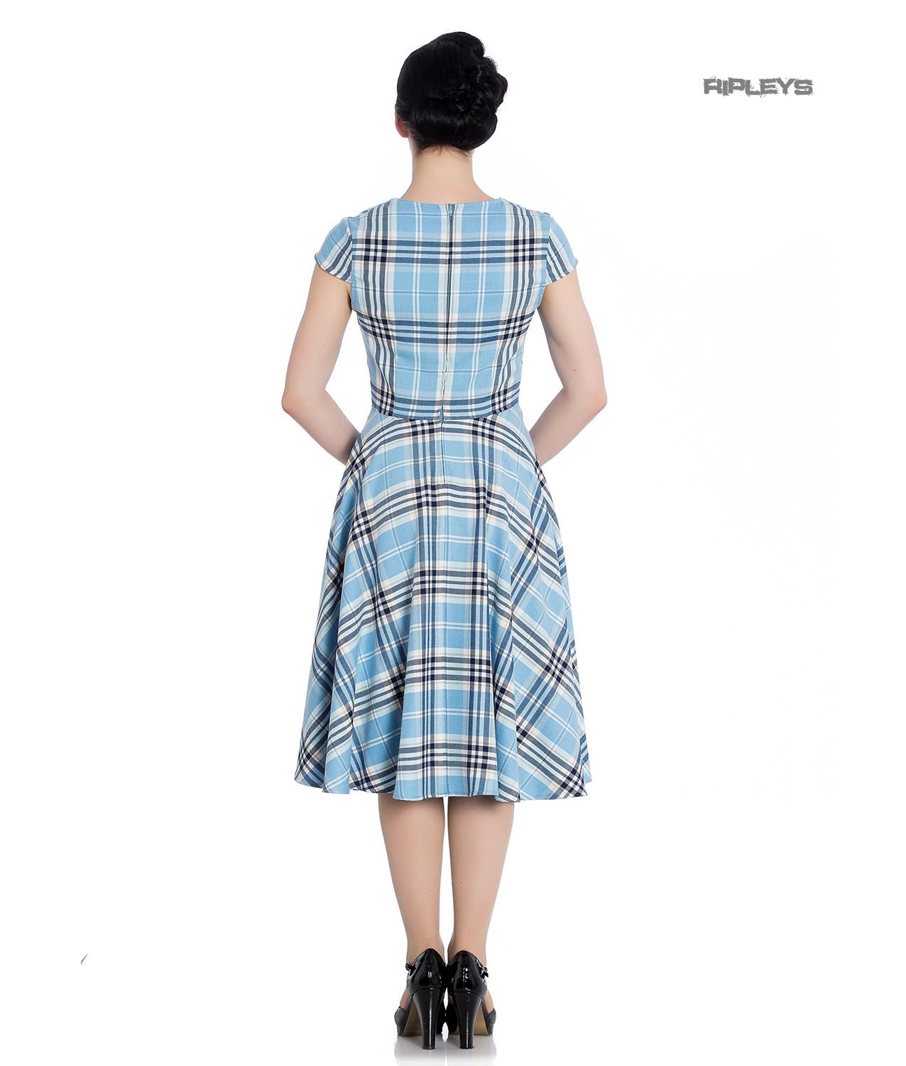 Hell-Bunny-Pinup-50s-Dress-ABERDEEN-Hogmony-Sky-Blue-amp-White-Tartan-All-Sizes thumbnail 16