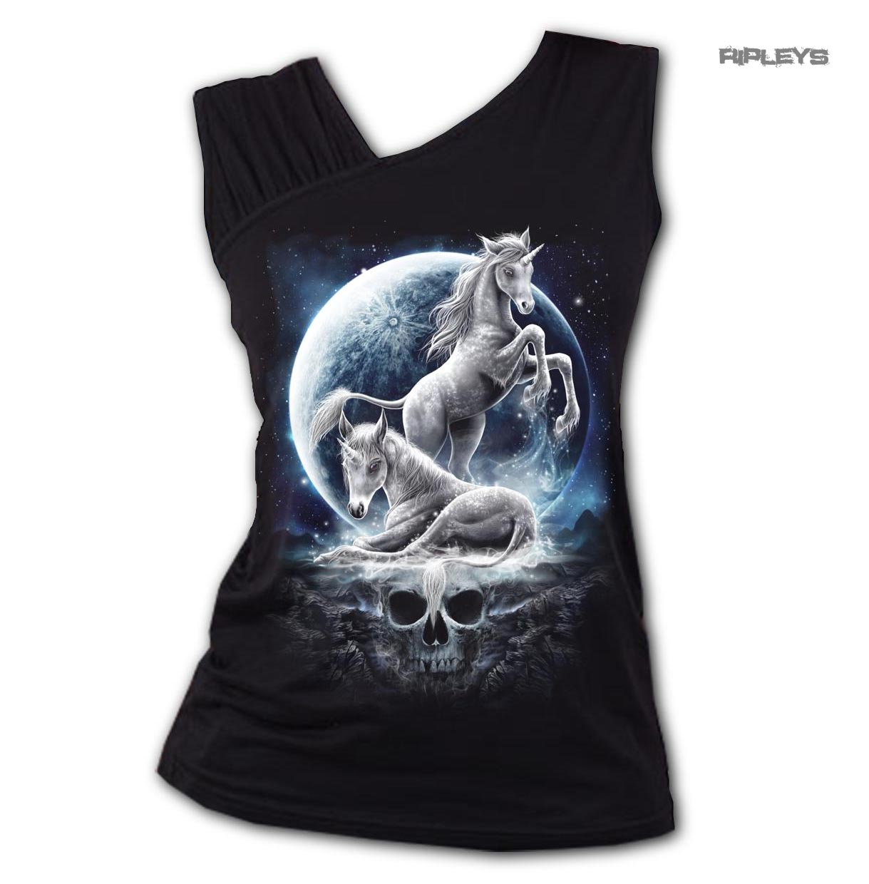 SPIRAL-Ladies-Black-Gothic-BABY-UNICORN-Moon-Skull-Slant-Vest-Top-All-Sizes thumbnail 4