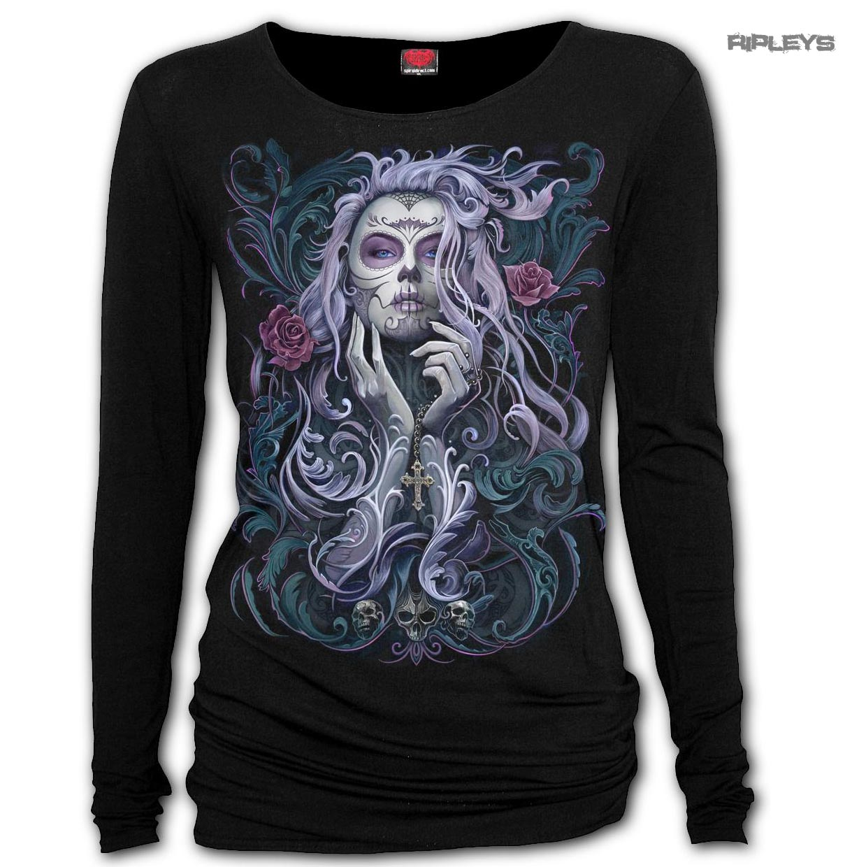 SPIRAL-Ladies-Black-Goth-ROCOCO-SKULL-Day-of-The-Dead-L-Sleeve-Top-All-Sizes thumbnail 6