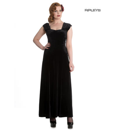 Hell Bunny 20s 30s Gothic Elegant Maxi Dress GERALDINE Black Velvet All Sizes