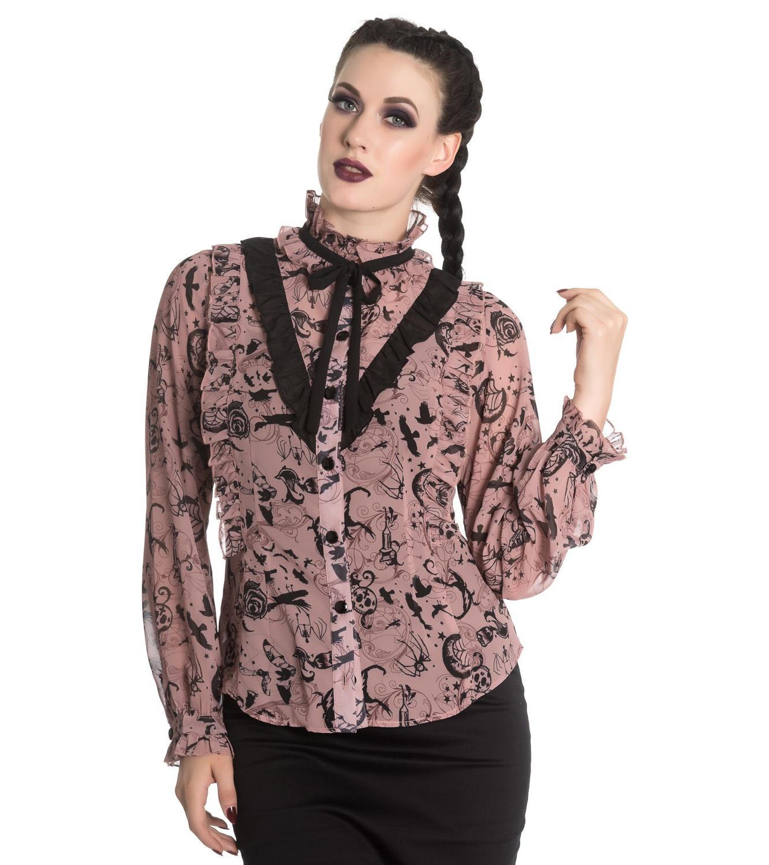 Hell Bunny Chiffon Shirt Top Gothic Skulls Roses GRISELDA Blouse Ivory All Sizes