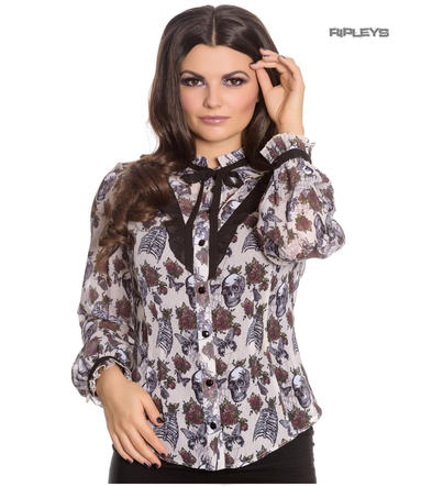 Hell Bunny Chiffon Shirt Top Gothic Skulls Roses GRISELDA Blouse Ivory All Sizes