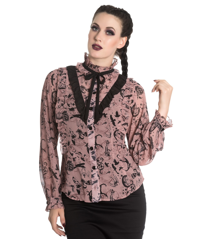 Hell-Bunny-Chiffon-Shirt-Top-Gothic-Vampire-SIBYL-Blouse-Dusty-Pink-All-Sizes thumbnail 7