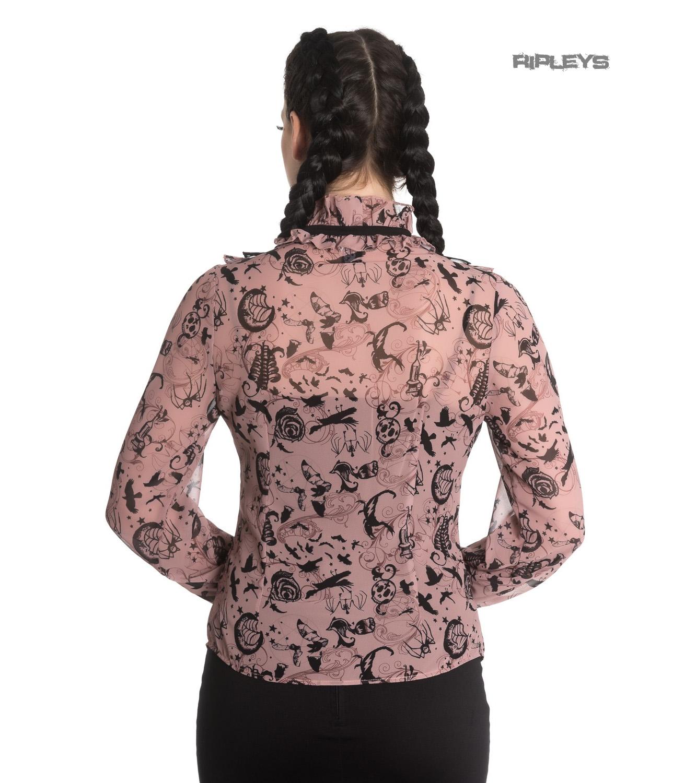 Hell-Bunny-Chiffon-Shirt-Top-Gothic-Vampire-SIBYL-Blouse-Dusty-Pink-All-Sizes thumbnail 32