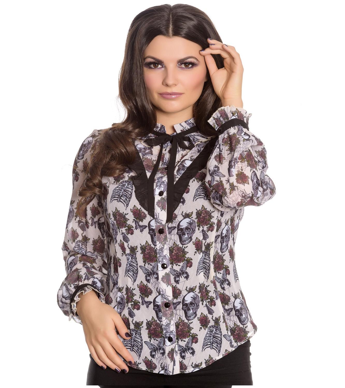 Hell-Bunny-Chiffon-Shirt-Top-Gothic-Skulls-Roses-GRISELDA-Blouse-Ivory-All-Sizes thumbnail 23
