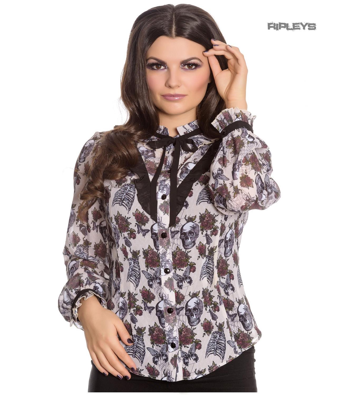 Hell-Bunny-Chiffon-Shirt-Top-Gothic-Skulls-Roses-GRISELDA-Blouse-Ivory-All-Sizes thumbnail 22