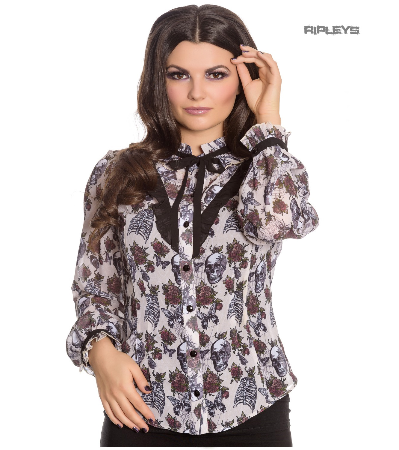Hell-Bunny-Chiffon-Shirt-Top-Gothic-Skulls-Roses-GRISELDA-Blouse-Ivory-All-Sizes thumbnail 18