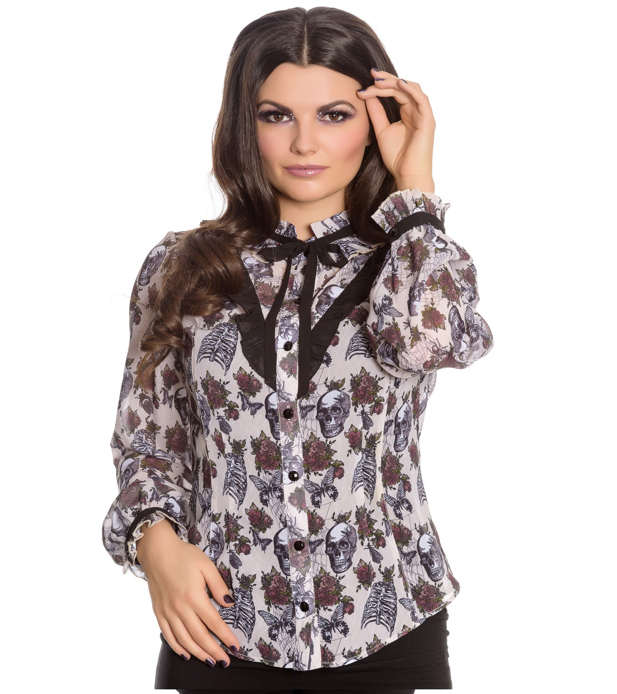 Hell-Bunny-Chiffon-Shirt-Top-Gothic-Skulls-Roses-GRISELDA-Blouse-Ivory-All-Sizes thumbnail 31