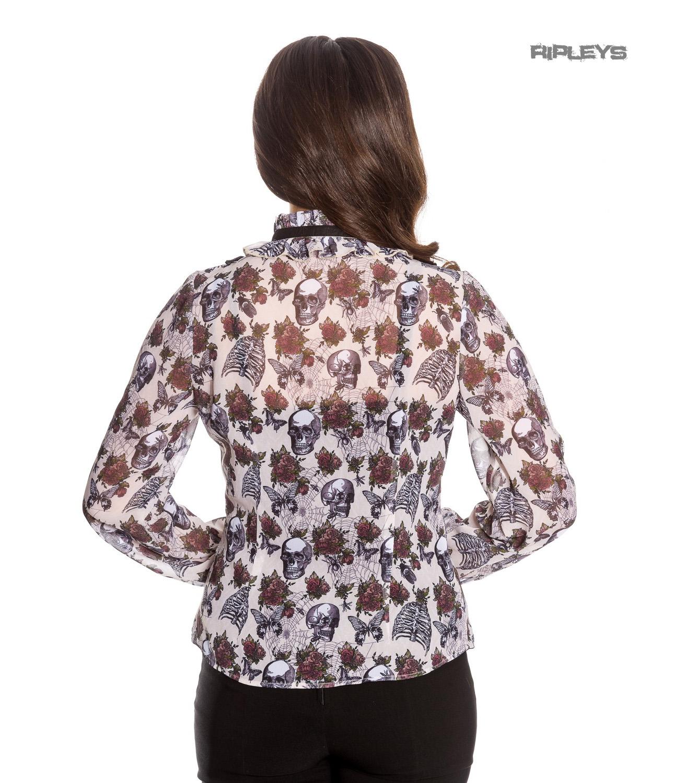 Hell-Bunny-Chiffon-Shirt-Top-Gothic-Skulls-Roses-GRISELDA-Blouse-Ivory-All-Sizes thumbnail 32