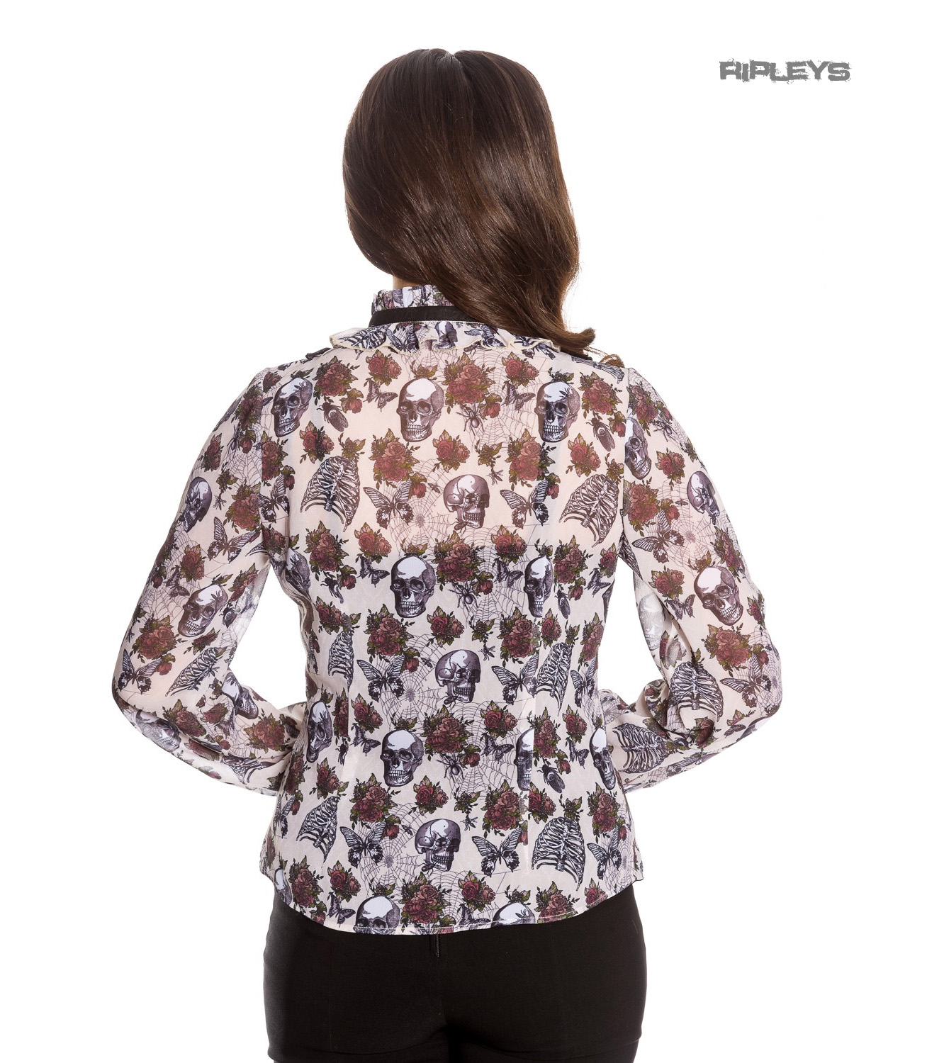 Hell-Bunny-Chiffon-Shirt-Top-Gothic-Skulls-Roses-GRISELDA-Blouse-Ivory-All-Sizes thumbnail 4