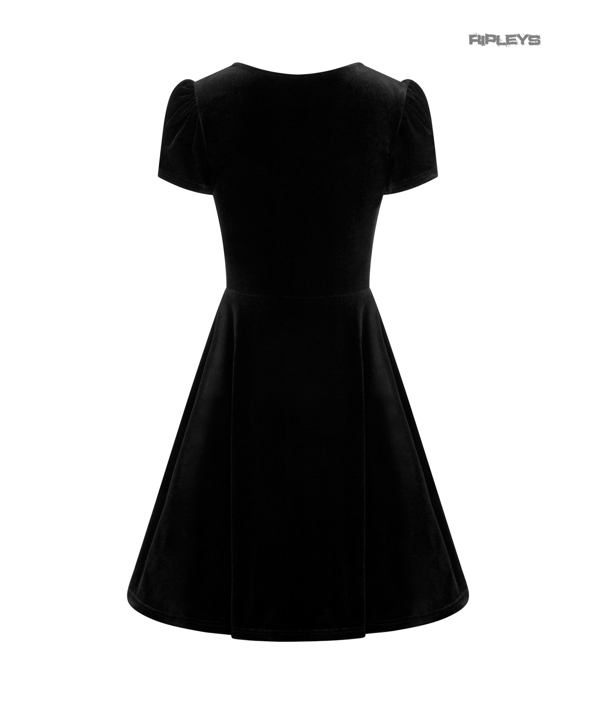 Hell-Bunny-40s-50s-Elegant-Pin-Up-Dress-JOANNE-Crushed-Velvet-Black-All-Sizes thumbnail 18