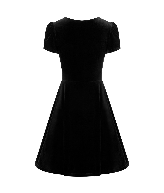 Hell-Bunny-40s-50s-Elegant-Pin-Up-Dress-JOANNE-Crushed-Velvet-Black-All-Sizes thumbnail 7