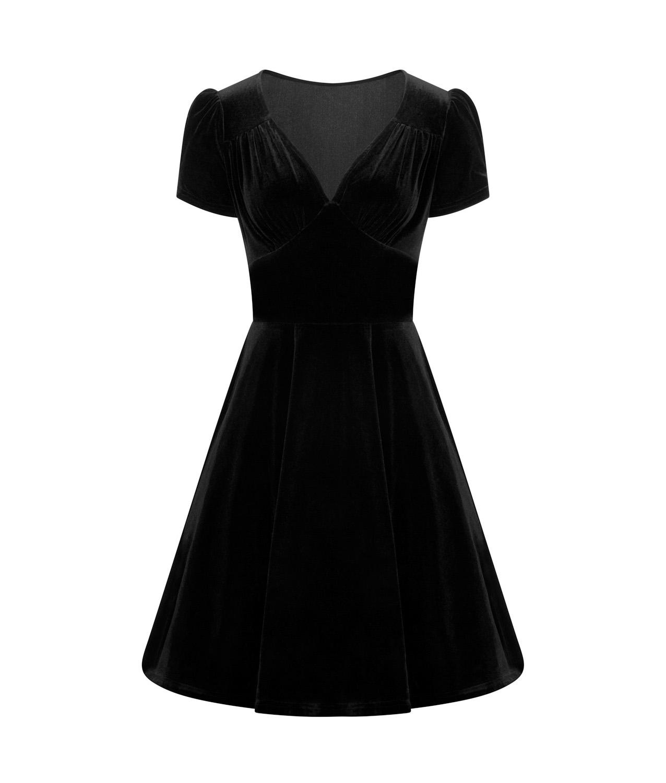 Hell-Bunny-40s-50s-Elegant-Pin-Up-Dress-JOANNE-Crushed-Velvet-Black-All-Sizes thumbnail 5