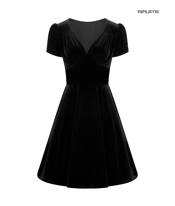 Hell-Bunny-40s-50s-Elegant-Pin-Up-Dress-JOANNE-Crushed-Velvet-Black-All-Sizes thumbnail 4