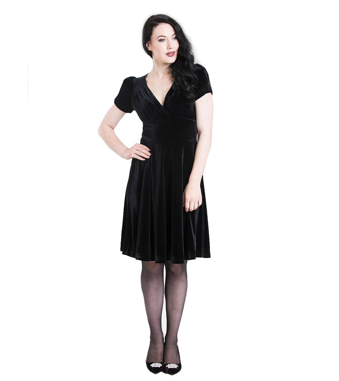 Hell-Bunny-40s-50s-Elegant-Pin-Up-Dress-JOANNE-Crushed-Velvet-Black-All-Sizes thumbnail 3