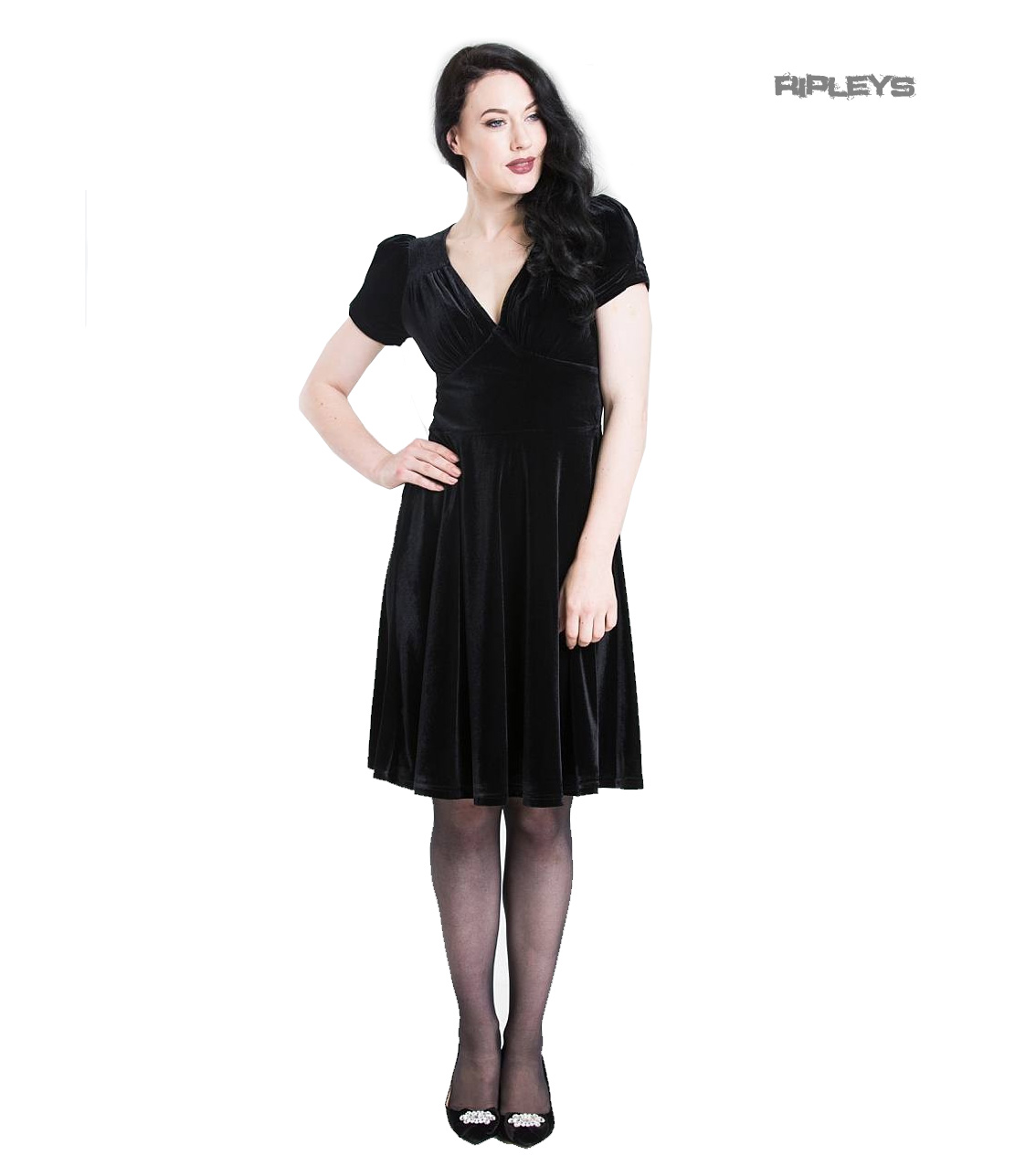Hell-Bunny-40s-50s-Elegant-Pin-Up-Dress-JOANNE-Crushed-Velvet-Black-All-Sizes thumbnail 2