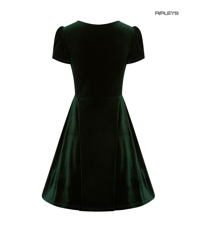 Hell-Bunny-40s-50s-Elegant-Pin-Up-Dress-JOANNE-Crushed-Velvet-Green-All-Sizes thumbnail 24