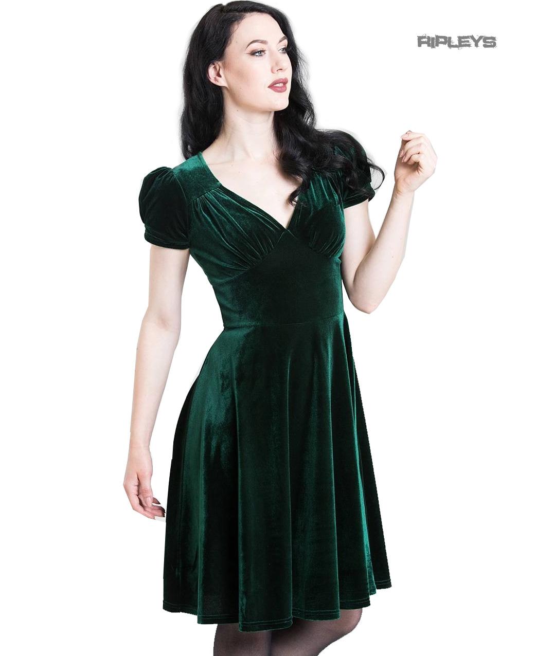 Hell-Bunny-40s-50s-Elegant-Pin-Up-Dress-JOANNE-Crushed-Velvet-Green-All-Sizes thumbnail 20