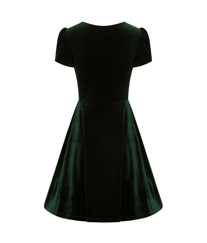 Hell-Bunny-40s-50s-Elegant-Pin-Up-Dress-JOANNE-Crushed-Velvet-Green-All-Sizes thumbnail 7