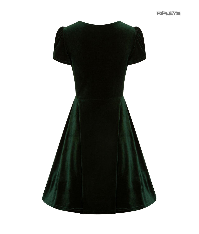 Hell-Bunny-40s-50s-Elegant-Pin-Up-Dress-JOANNE-Crushed-Velvet-Green-All-Sizes thumbnail 6