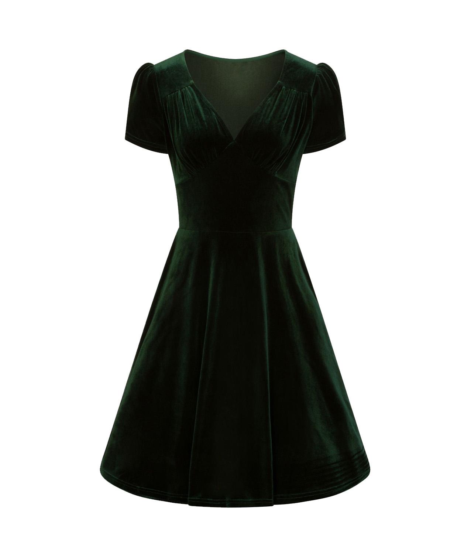 Hell-Bunny-40s-50s-Elegant-Pin-Up-Dress-JOANNE-Crushed-Velvet-Green-All-Sizes thumbnail 5