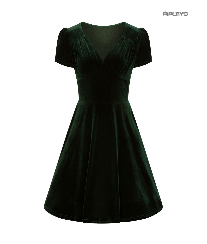Hell-Bunny-40s-50s-Elegant-Pin-Up-Dress-JOANNE-Crushed-Velvet-Green-All-Sizes thumbnail 4