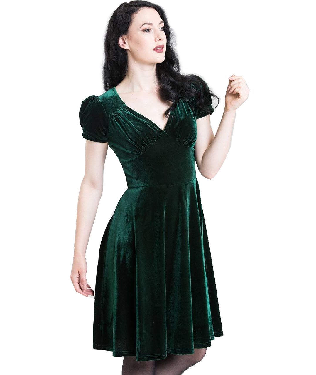 Hell-Bunny-40s-50s-Elegant-Pin-Up-Dress-JOANNE-Crushed-Velvet-Green-All-Sizes thumbnail 3