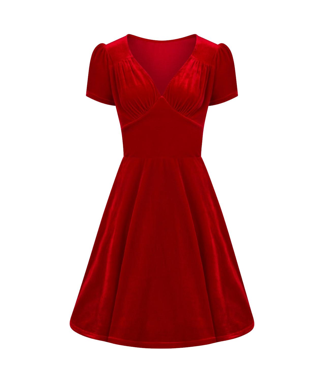 Hell-Bunny-40s-50s-Elegant-Pin-Up-Dress-JOANNE-Crushed-Velvet-Red-All-Sizes thumbnail 11