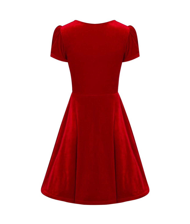 Hell-Bunny-40s-50s-Elegant-Pin-Up-Dress-JOANNE-Crushed-Velvet-Red-All-Sizes thumbnail 7