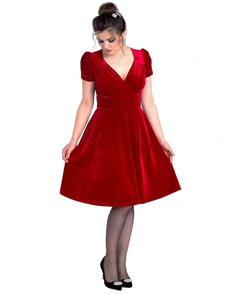 Hell-Bunny-40s-50s-Elegant-Pin-Up-Dress-JOANNE-Crushed-Velvet-Red-All-Sizes thumbnail 3