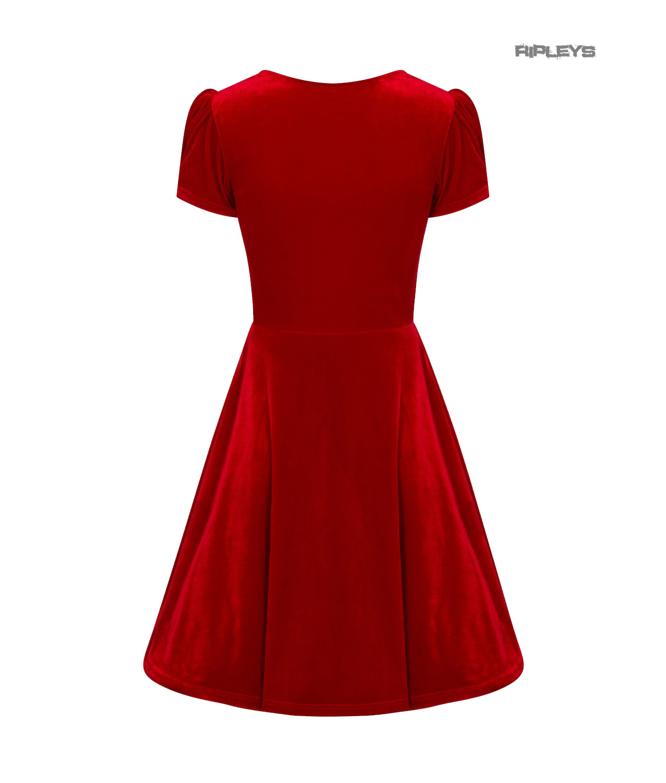 Hell-Bunny-40s-50s-Elegant-Pin-Up-Dress-JOANNE-Crushed-Velvet-Red-All-Sizes thumbnail 48