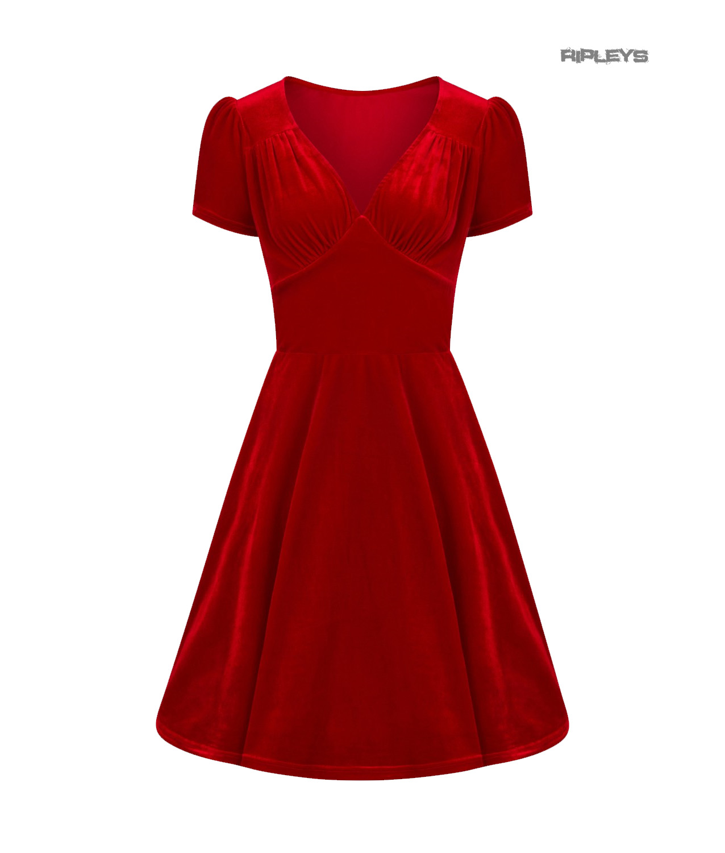Hell-Bunny-40s-50s-Elegant-Pin-Up-Dress-JOANNE-Crushed-Velvet-Red-All-Sizes thumbnail 46