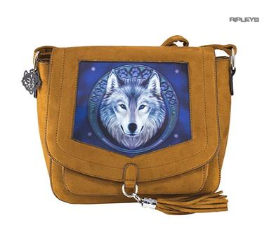 ANNE STOKES 3D Suede Effect Brown Side Messenger Bag Wolf 'Lunar Wolf' #1