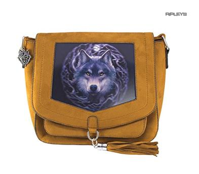 ANNE STOKES 3D Suede Effect Brown Side Messenger Bag Wolf 'Night Forest' #2