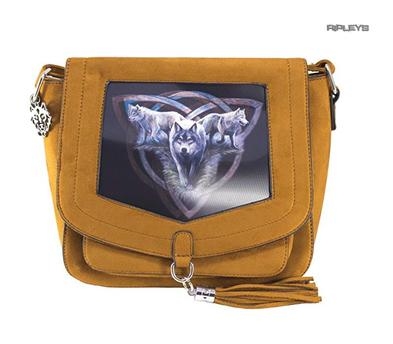 ANNE STOKES 3D Suede Effect Brown Side Messenger Bag Tribal 'Wolf Trio' #3