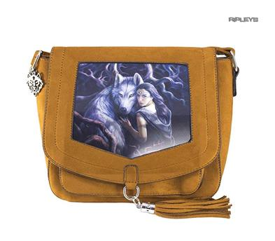 ANNE STOKES 3D Suede Effect Brown Side Messenger Bag Wolf 'Soul Bond' #4