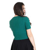 Hell Bunny Ladies 50s WENDI Plain Short Sleeved Cardigan Top Green All Sizes Thumbnail 4