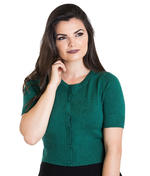 Hell Bunny Ladies 50s WENDI Plain Short Sleeved Cardigan Top Green All Sizes Thumbnail 2