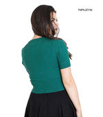 Hell Bunny Ladies 50s WENDI Plain Short Sleeved Cardigan Top Green All Sizes Thumbnail 3