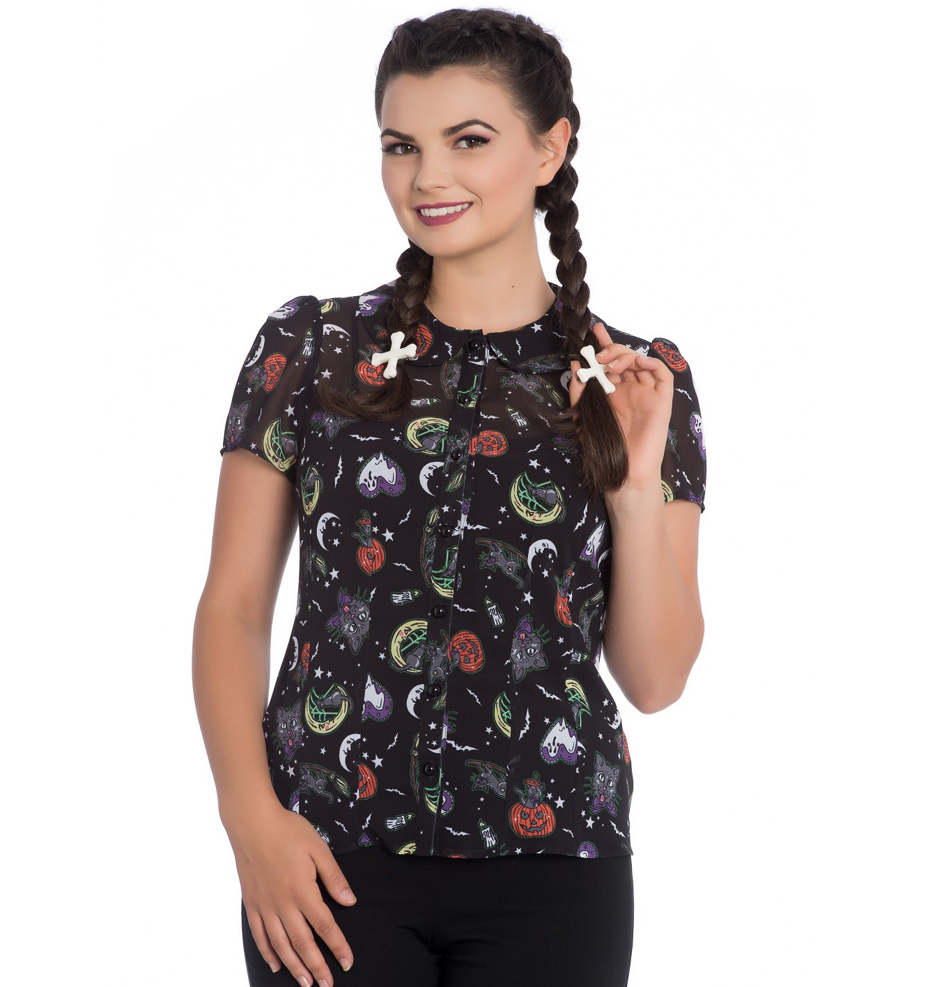 Hell-Bunny-Shirt-Top-Black-Halloween-Gothic-SALEM-Blouse-Bats-Ghosts-All-Sizes thumbnail 3