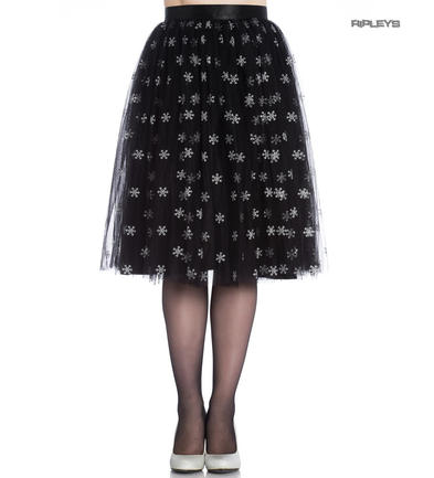 Hell Bunny 50s Black Christmas Skirt SNOWSTAR Glitter Snowflakes All Sizes