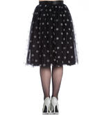 Hell Bunny 50s Black Christmas Skirt SNOWSTAR Glitter Snowflakes All Sizes Thumbnail 4
