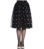 Hell Bunny 50s Black Christmas Skirt SNOWSTAR Glitter Snowflakes All Sizes Thumbnail 2