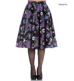 Hell Bunny 50s Black Purple Gothic Skirt GRACIELA Muertos Skeletons All Sizes Thumbnail 1
