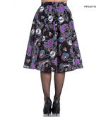 Hell Bunny 50s Black Purple Gothic Skirt GRACIELA Muertos Skeletons All Sizes Thumbnail 3