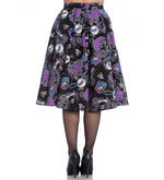 Hell Bunny 50s Black Purple Gothic Skirt GRACIELA Muertos Skeletons All Sizes Thumbnail 4
