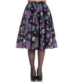 Hell Bunny 50s Black Purple Gothic Skirt GRACIELA Muertos Skeletons All Sizes Thumbnail 2