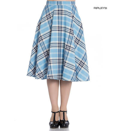 Hell Bunny 50s Tartan Skirt Aberdeen Hogmony DORA LEE Blue White All Sizes